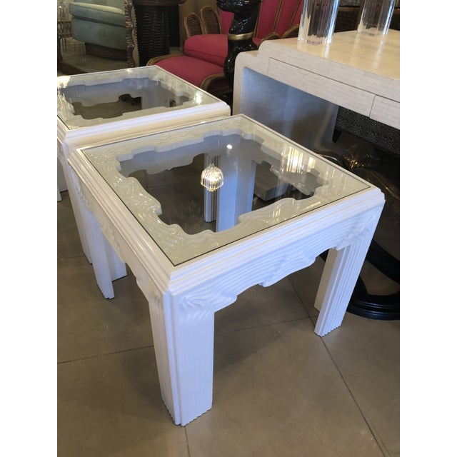 Glass Vintage Modern White Lacquered Wavy End Side Tables -A Pair For Sale - Image 7 of 13