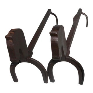 Early 20th Century Iron Horse Shoe and Horse Head Andirons For Sale