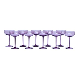 Vintage Amethyst Crystal Champagne Coupes
