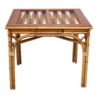 Mid-Century Modern Italian Bamboo Backgammon Table For Sale
