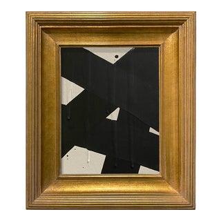 Ron Giusti Mini Abstract Cream and Black Acrylic Painting, Framed
