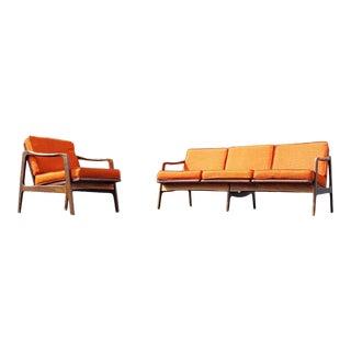1960s Mid Century Walnut Sofa & Lounge Chair For Sale