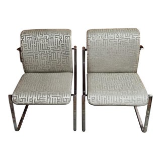 Mid Century Modern Peter Protzman Flat Bar Chairs Newly Upholstered - Pair For Sale