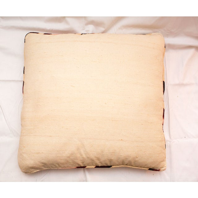 Abstract Vintage Pink Raw Silk Marbled Pillow For Sale - Image 3 of 4