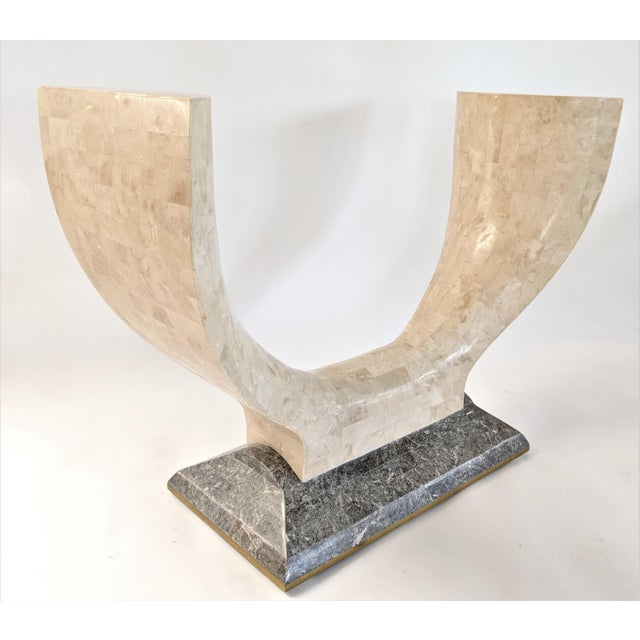 Maitland Smith tessellated stone console center table . To avoid high shipping costs, glass is not included. Please...