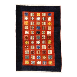 "Persian Gabbeh Rug - 3'4"" X 4'10"" For Sale"
