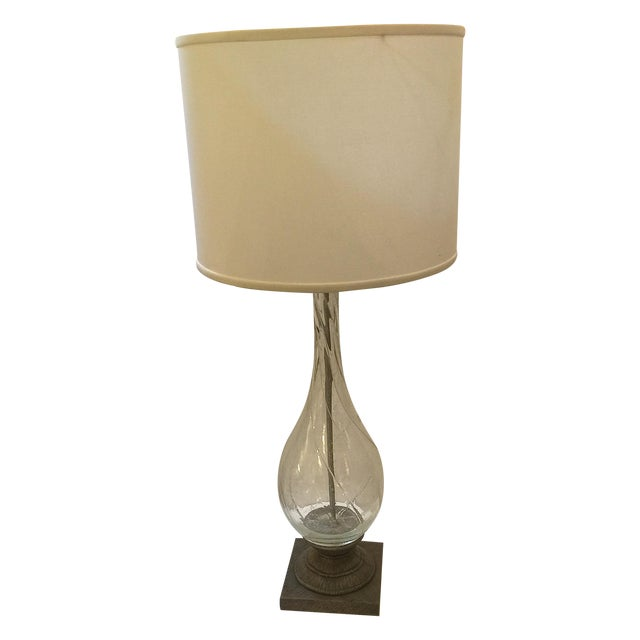 Modern Swirling Clear Glass Lamp - Image 1 of 5