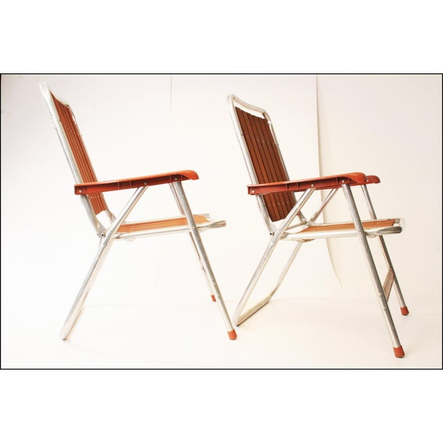 Vintage Redwood & Aluminum Folding Patio Chairs - A Pair For Sale - Image 4 of 11