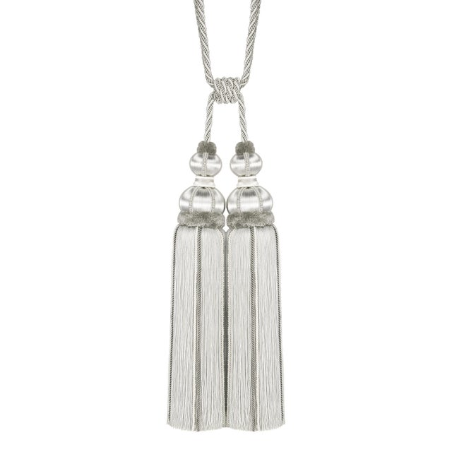 """Platinum Double Tassel Tieback With Cut Ruche- Height 17"""" For Sale In Charlotte - Image 6 of 6"""