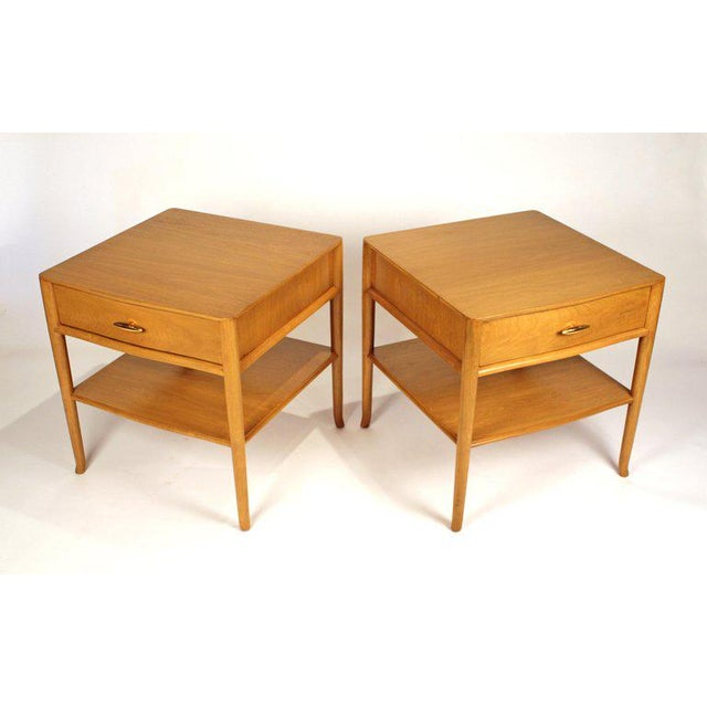 Mid-Century Modern T.H. Robsjohn Gibbings for Widdicomb Bleached Walnut Nightstands - A Pair For Sale - Image 3 of 12