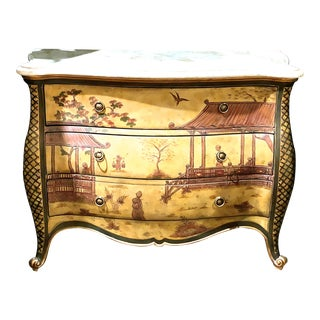 Maitland Smith Hand Painted Bombay Chest Asian Motif For Sale