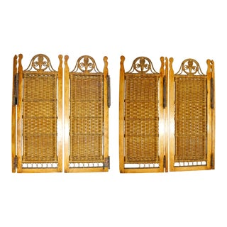 Vintage Mid Century Wicker Shutters- Set of 4 For Sale