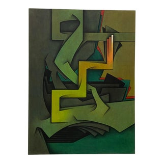 """Vintage """"Le Geste Immobile"""" Abstract Oil Painting C.1981 For Sale"""