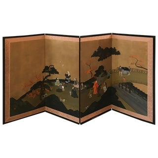 Japanese Four-Panel Byobu Screen For Sale