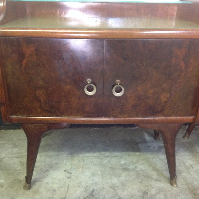 Mid-Century Italian Burl Wood Side Tables - Pair For Sale - Image 5 of 8
