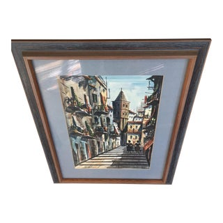 Vintage Watercolor Painting Signed Soyo European Street Scene Mid Century For Sale