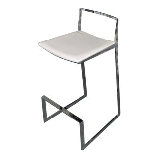 Set of Three Chrome & White Leather Modern Bar Stools For Sale