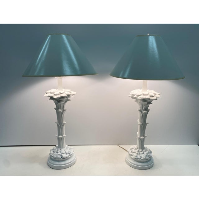1950s Serge Roche Style Palm Motife Table Lamps For Sale - Image 5 of 12