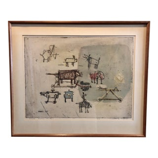 """1963 """"Artists Sketch Book"""" 7/25 Original Itaglio by Malcolm H. Myers, Framed For Sale"""