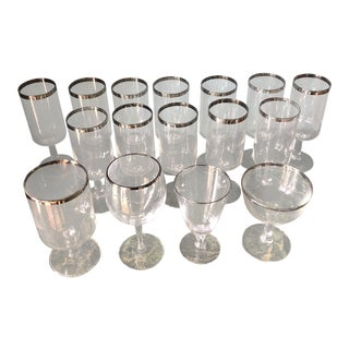 Dorothy Thorpe Silver Lined Champagne Glasses - Set of 16 For Sale