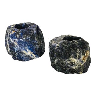 Pair of Natural Cut Blue Sodalite Stone Candleholders For Sale