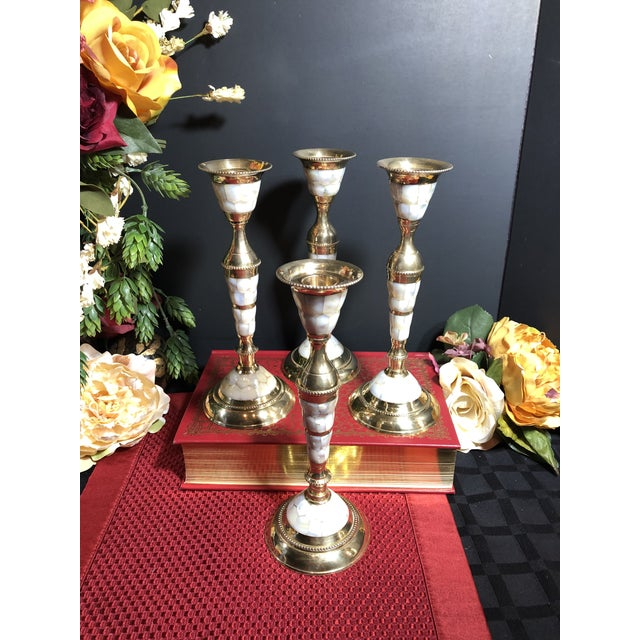 Vintage Mid-Century Modern Brass Mother of Pearl Candle Holders - Set of 4 For Sale - Image 10 of 12