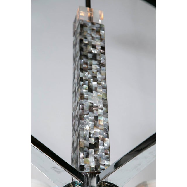 Mother of Pearl Micro Mosaic Decorated Chandelier For Sale - Image 7 of 8
