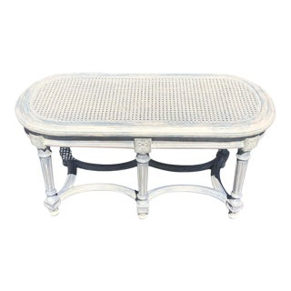 Shabby Chic Whitewashed Cane Bench For Sale