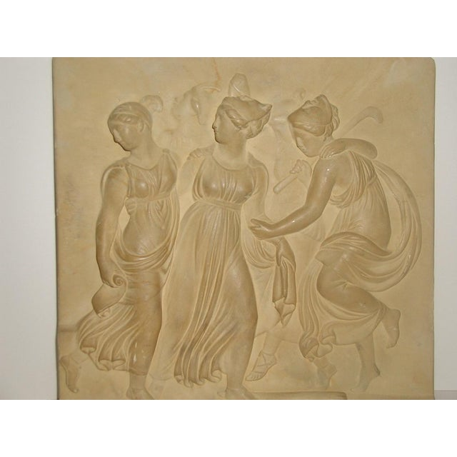 Tan Neoclassical Roman Plaque Plaster Wall Hanging For Sale - Image 8 of 8