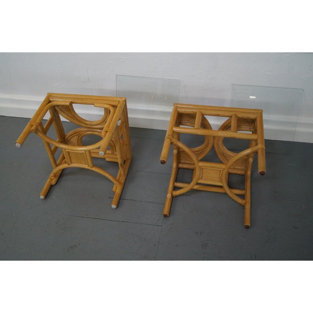 Rattan Bamboo Square Glass Top Low Tables - Pair For Sale - Image 9 of 9