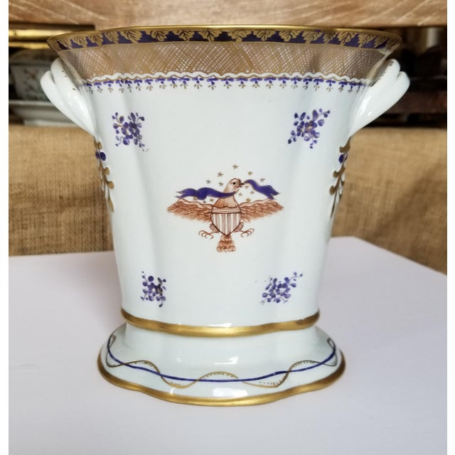 Charming classic Chinese export style vase by mottahedeh with hand painted details eagle and sheild.