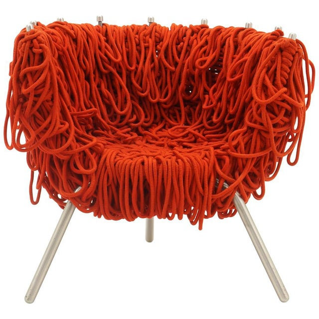 Red Vermelha Chair by Fernando and Humberto Campana for Edra, Red Rope, Aluminum For Sale - Image 8 of 8