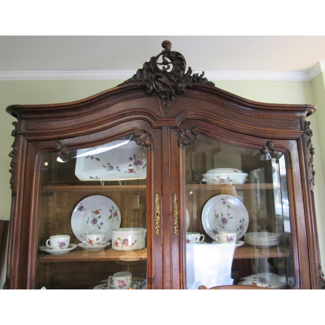 1900 French Walnut China Cabinet For Sale - Image 4 of 13