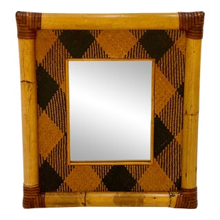 Bamboo and Rattan Framed Mirror For Sale
