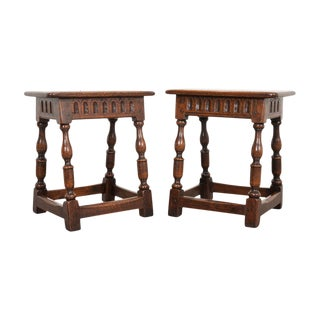 English 19th Century Oak Joint Stools - a Pair For Sale