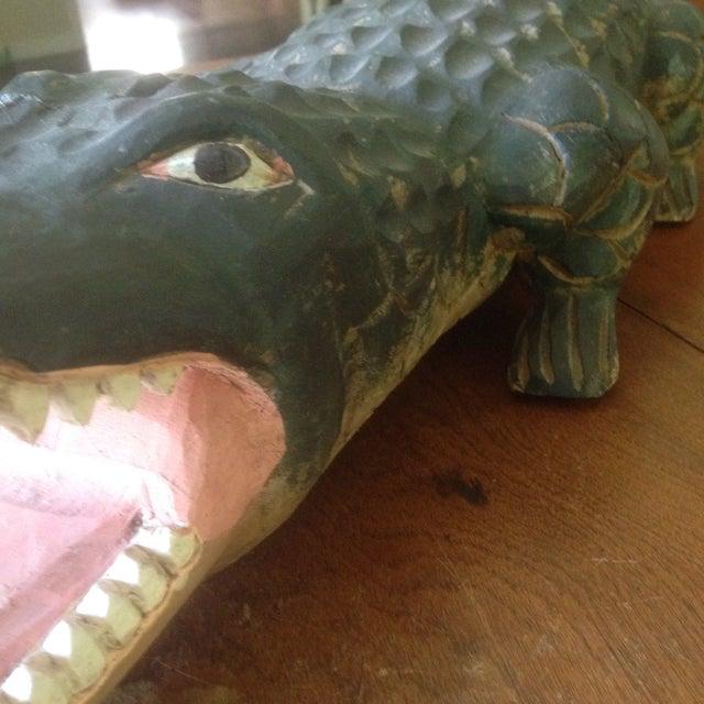 Vintage Carved Wood Folk Art Alligator - Image 5 of 11