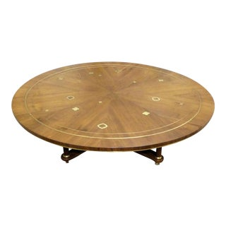 1960s Mid-Century Modern Bert England for Johnson Furniture Brass Inlaid Round Coffee Table For Sale