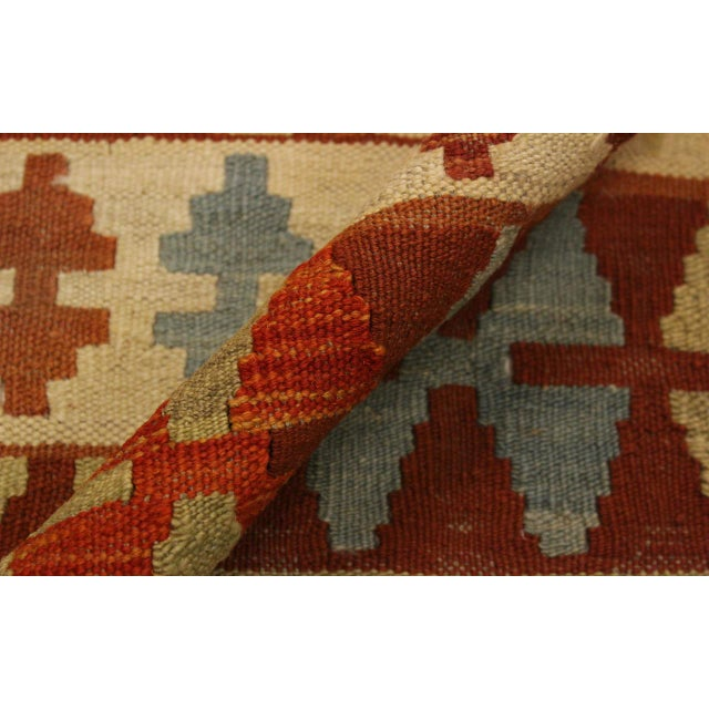 Abstract Rosetta Beige/Gold Hand-Woven Kilim Wool Rug -5'10 X 7'8 For Sale - Image 4 of 8