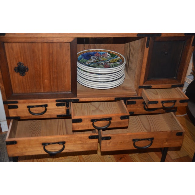 Antique Japanese Choba Tansu With Iron Base For Sale - Image 10 of 12