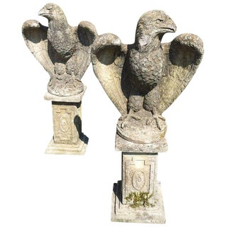 British Carved Cement Eagles on Pedestals - A Pair For Sale