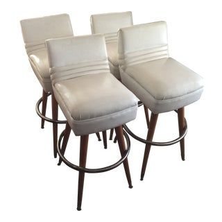 Vintage White Leather Bar Stools - Set of 4 For Sale