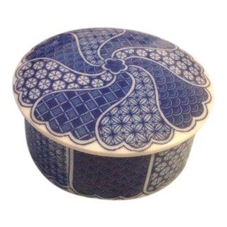 Japanese Kimono Pattern Ceramic Box With Lid