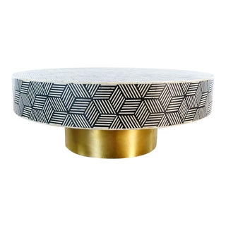 Anthropologie Targua Optical Inlay Coffee Table For Sale
