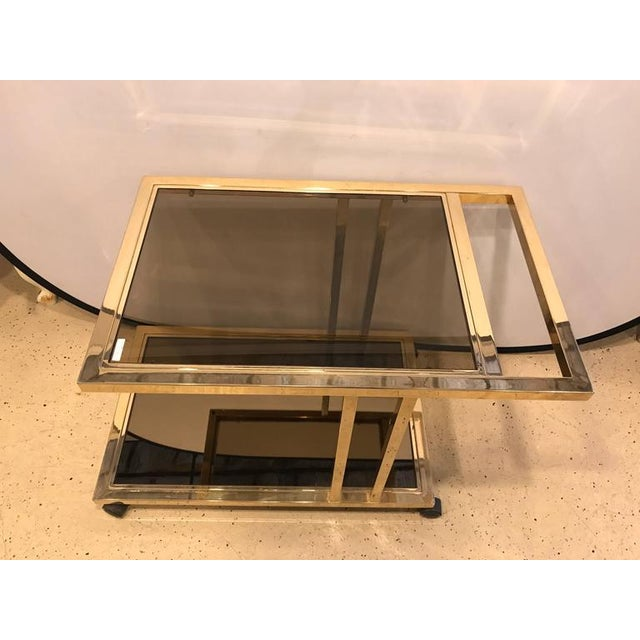 Italian Brass and Smoked Glass Bar Cart For Sale In New York - Image 6 of 9