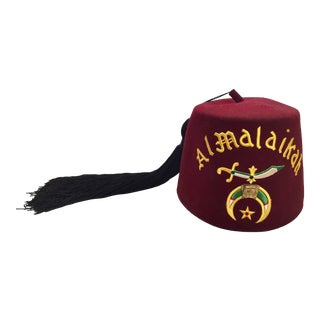 Al Malaikah Vintage Masonic Shriner Burgundy Wool Fez Hat For Sale