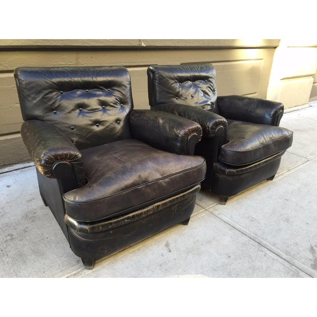 Pair 1930s English Leather Club Chairs For Sale - Image 10 of 10