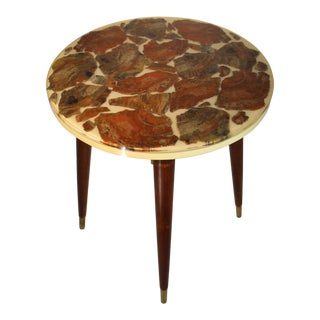 Mid-Century Modern Bespoke Fossilized Marble Round Side Table For Sale