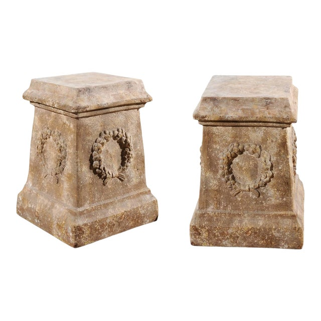 Pair of Vintage Continental Faux Stone Garden Plinths with Wreath Motifs, 1960s For Sale