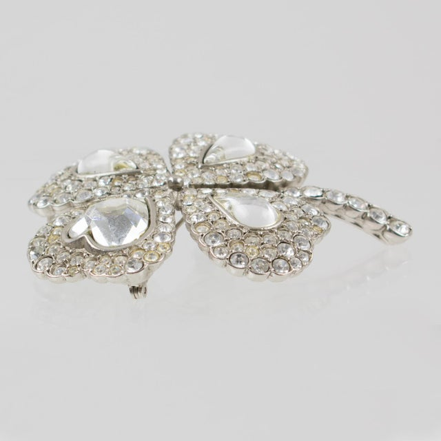 8d79364490f 1980s Yves Saint Laurent Ysl Jeweled Pin Brooch Four-Leaf Clover Clear  Rhinestones For Sale