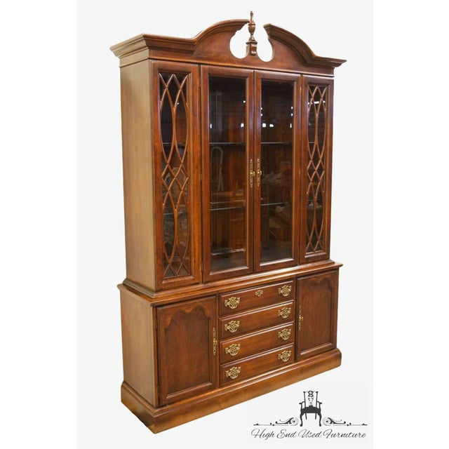 Chippendale Late 20th Century Vintage American Drew Cherry Chippendale China Cabinet For Sale - Image 3 of 13